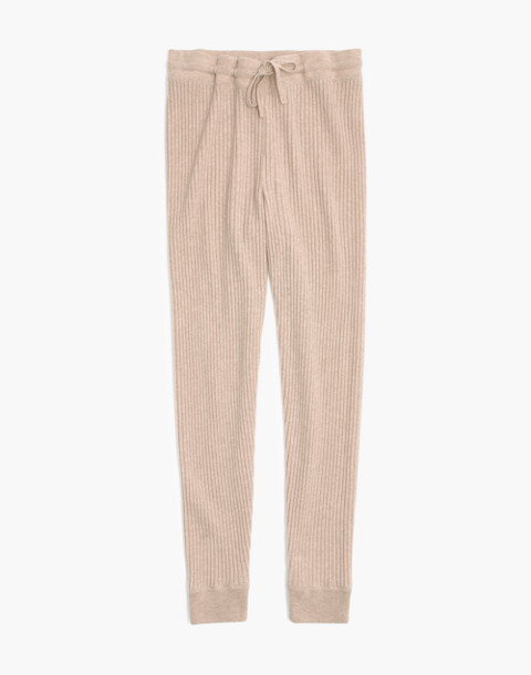 Cashmere Ribbed Jogger Pants in heather powder image 4