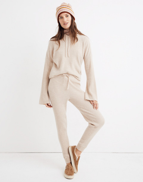 Cashmere Ribbed Jogger Pants in heather powder image 1
