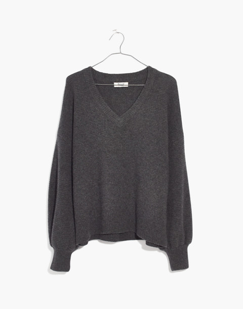 Cashmere V-Neck Bubble-Sleeve Sweater in hthr carbon image 3