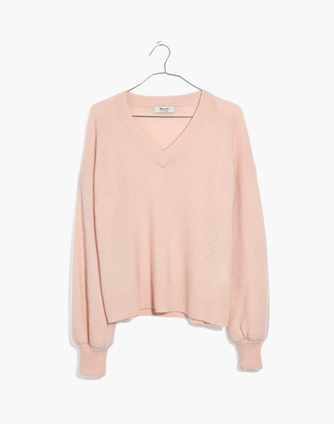 Cashmere V-Neck Bubble-Sleeve Sweater in lucid pink image 1