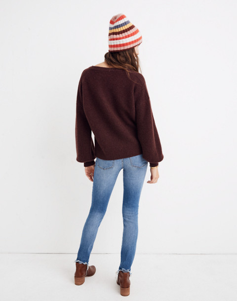 Cashmere V-Neck Bubble-Sleeve Sweater in heather cabernet image 3