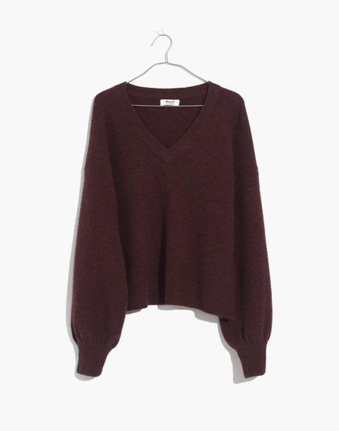 Cashmere V-Neck Bubble-Sleeve Sweater in heather cabernet image 4