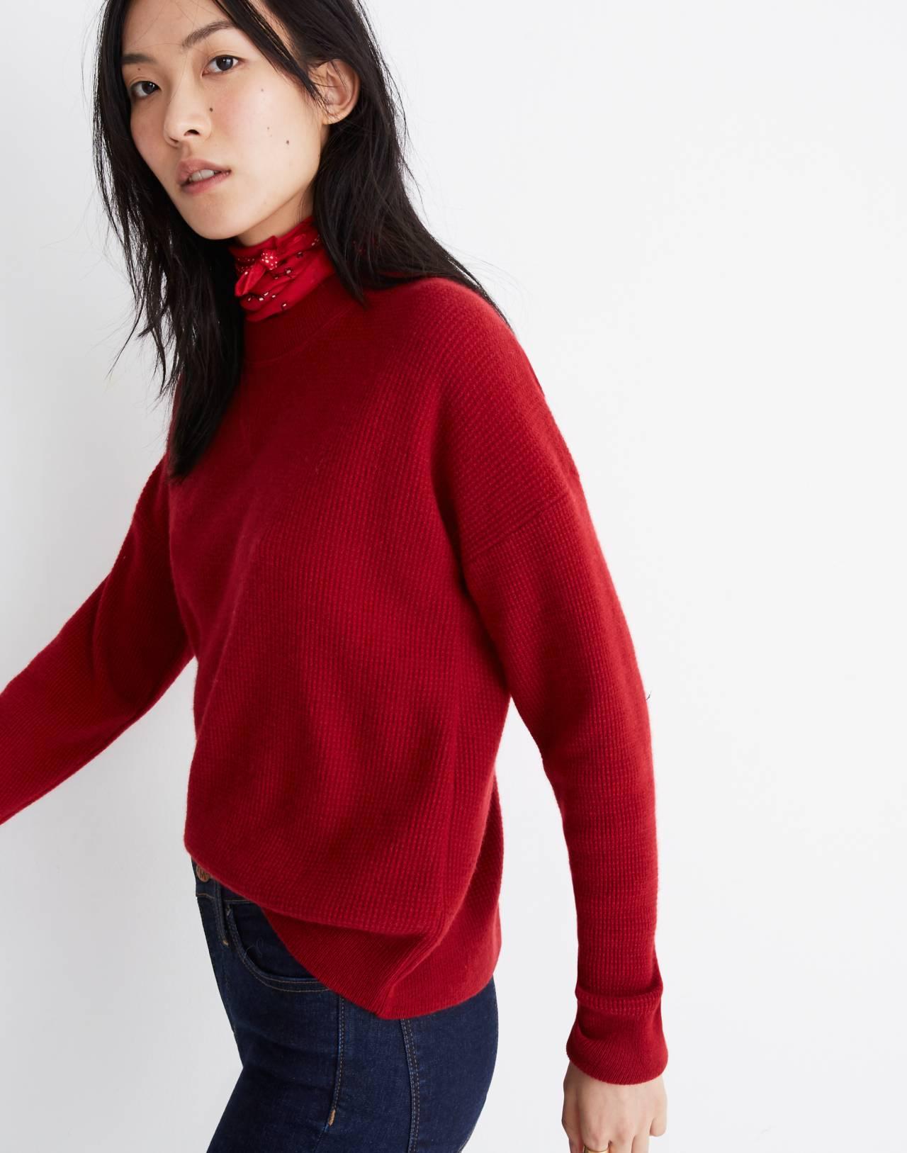 Cashmere Sweatshirt in crimson red image 2