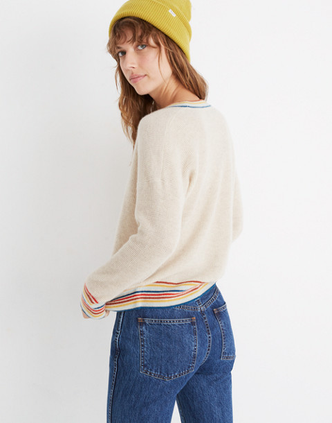 Rainbow-Trim Cashmere Sweatshirt in heather taupe image 3