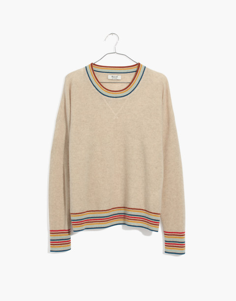 Rainbow-Trim Cashmere Sweatshirt in heather taupe image 4