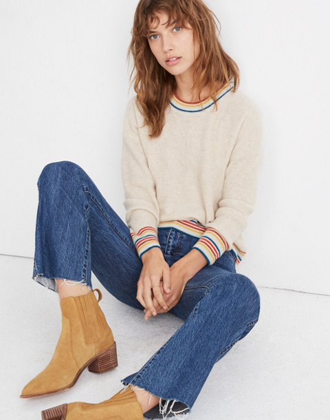 Rainbow-Trim Cashmere Sweatshirt in heather taupe image 1