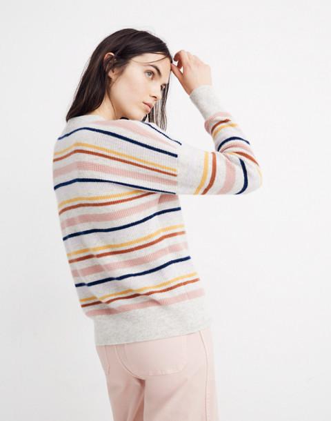 Cashmere Sweatshirt in Amador Stripe in heather blizzard image 3