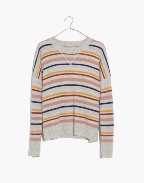 Cashmere Sweatshirt in Amador Stripe in heather blizzard image 4