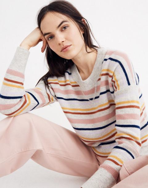 Cashmere Sweatshirt in Amador Stripe in heather blizzard image 1