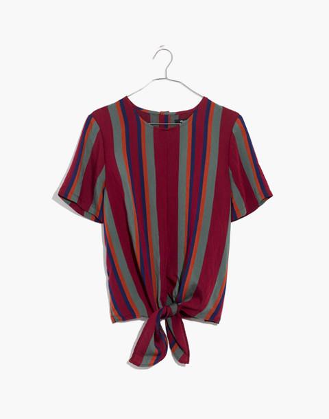 Button-Back Tie Tee in Rosalinda Stripe in dusty burgundy image 4
