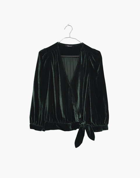 Velvet Wrap Top in smoky spruce image 4
