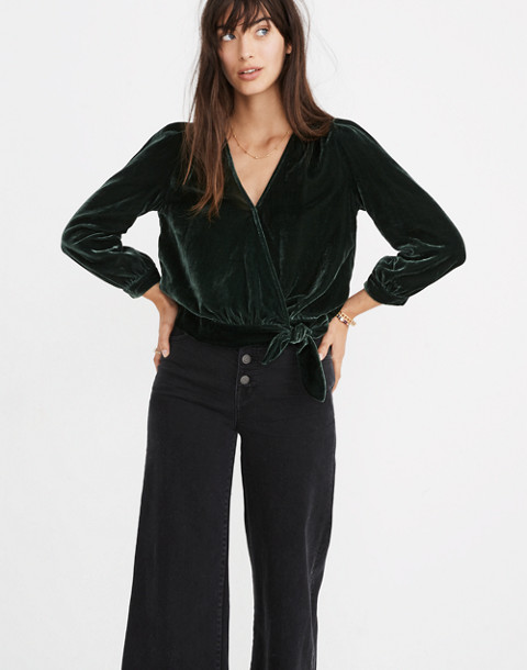 Velvet Wrap Top in smoky spruce image 1