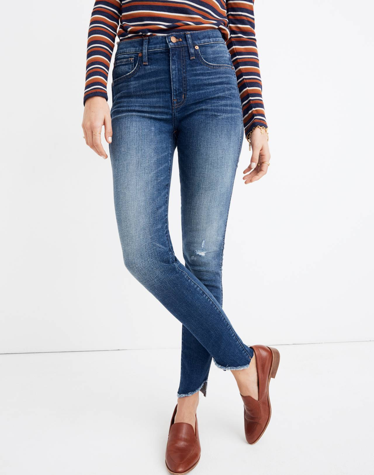 "10"" High-Rise Skinny Jeans: Cutout Tulip Hem Edition in matson wash image 1"