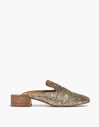 The Willa Loafer Mule in Glitter in smoky gold image 3