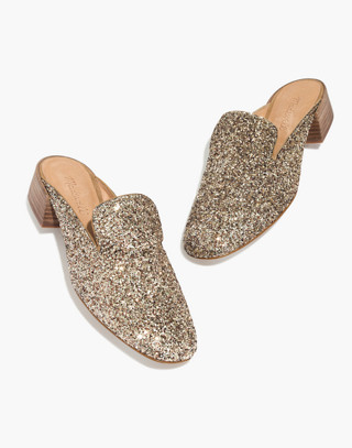 The Willa Loafer Mule in Glitter in smoky gold image 1