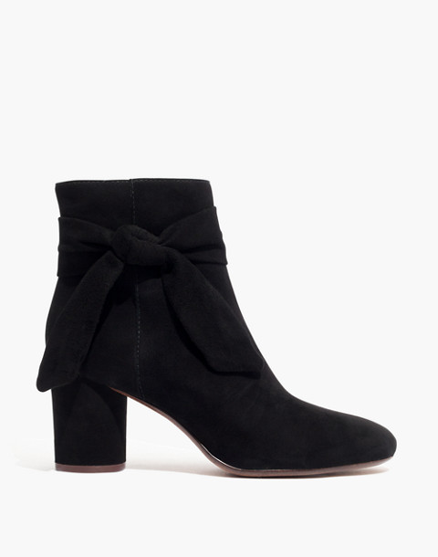 The Esme Bow Boot in Suede in true black image 3
