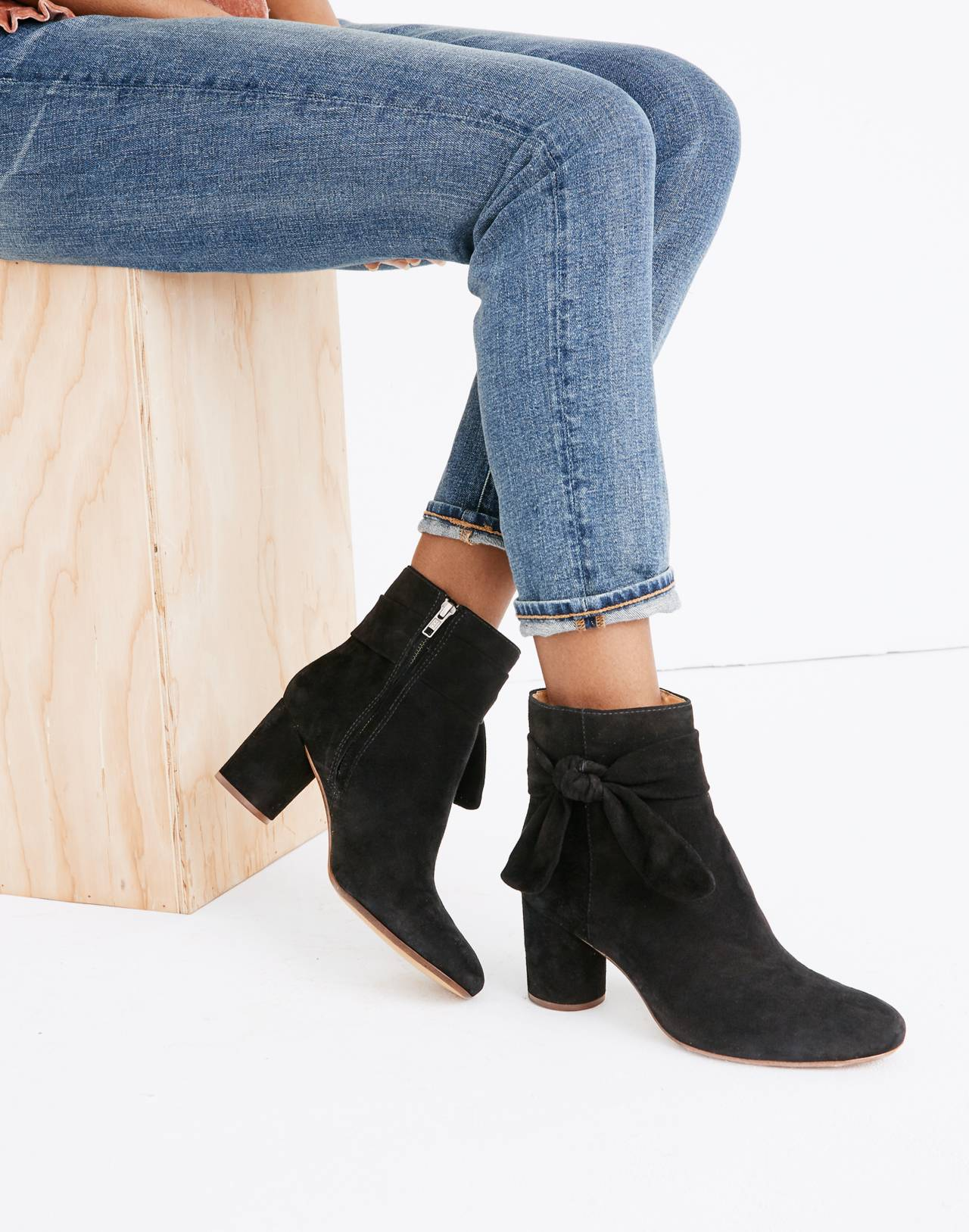 The Esme Bow Boot in Suede in true black image 2