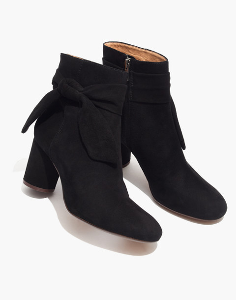 The Esme Bow Boot in Suede in true black image 1