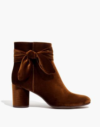 The Esme Bow Boot in Velvet in burnished cedar image 2