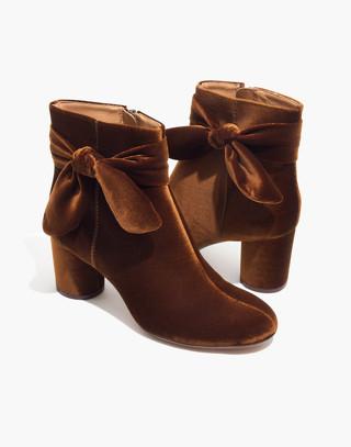 The Esme Bow Boot in Velvet in burnished cedar image 1