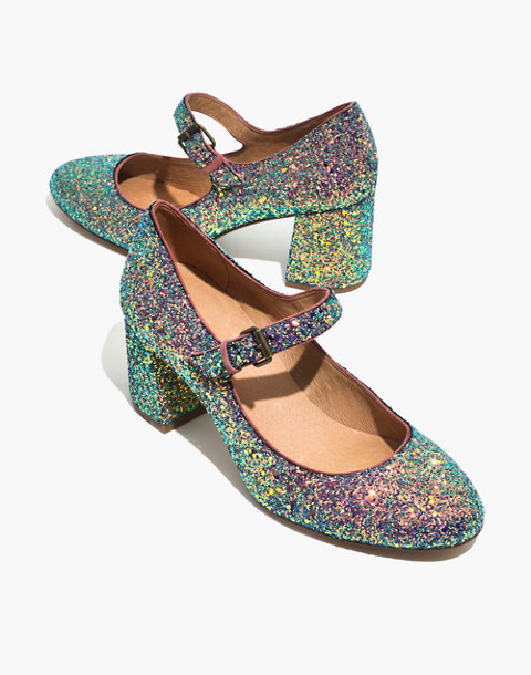 The Zelda Mary-Jane Pump in Glitter in violet multi image 1