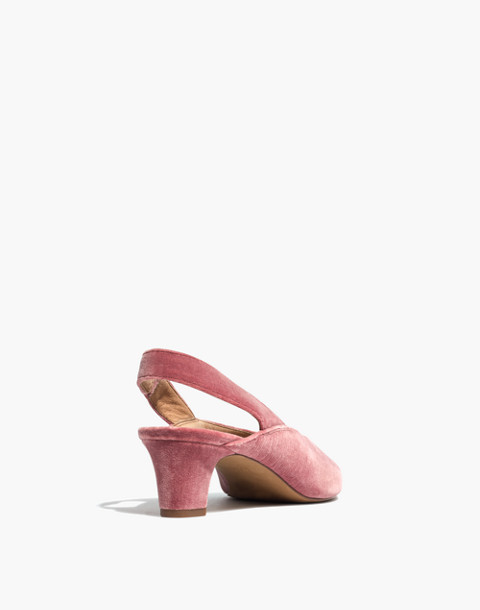 The Etta Slingback Pump in Velvet in autumn berry image 4