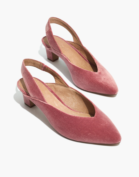 The Etta Slingback Pump in Velvet in autumn berry image 1