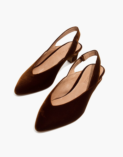 The Etta Slingback Pump in Velvet in burnished cedar image 1