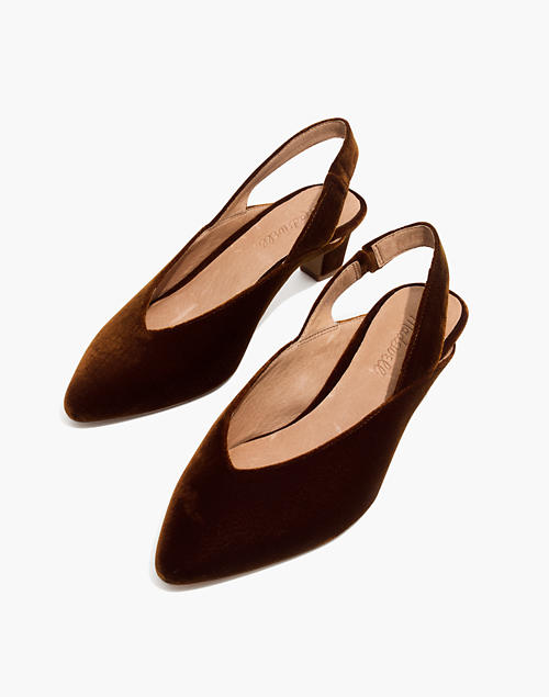 9319f566b61 The Etta Slingback Pump in Velvet in burnished cedar image 1