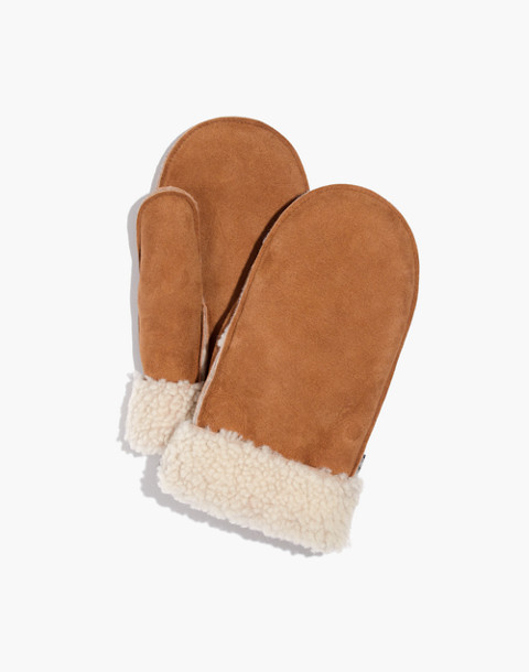 Madewell x Owen Barry™ Shearling Mittens in brandy cream curly image 1