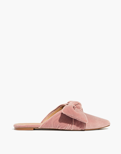 The Remi Bow Mule in Velvet in mauve shadow image 3