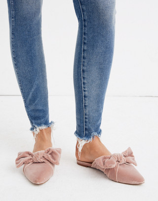 The Remi Bow Mule in Velvet in mauve shadow image 2