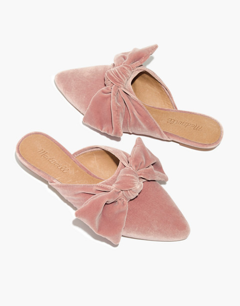 The Remi Bow Mule in Velvet in mauve shadow image 1