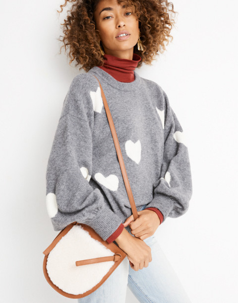 The Knot Crossbody Bag in Shearling in english saddle image 2