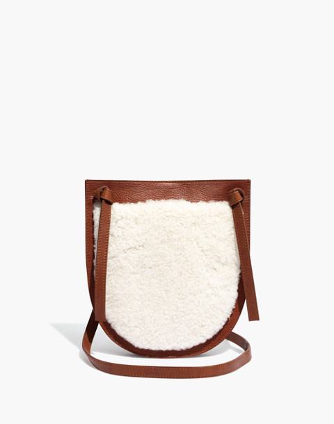 The Knot Crossbody Bag in Shearling in english saddle image 1