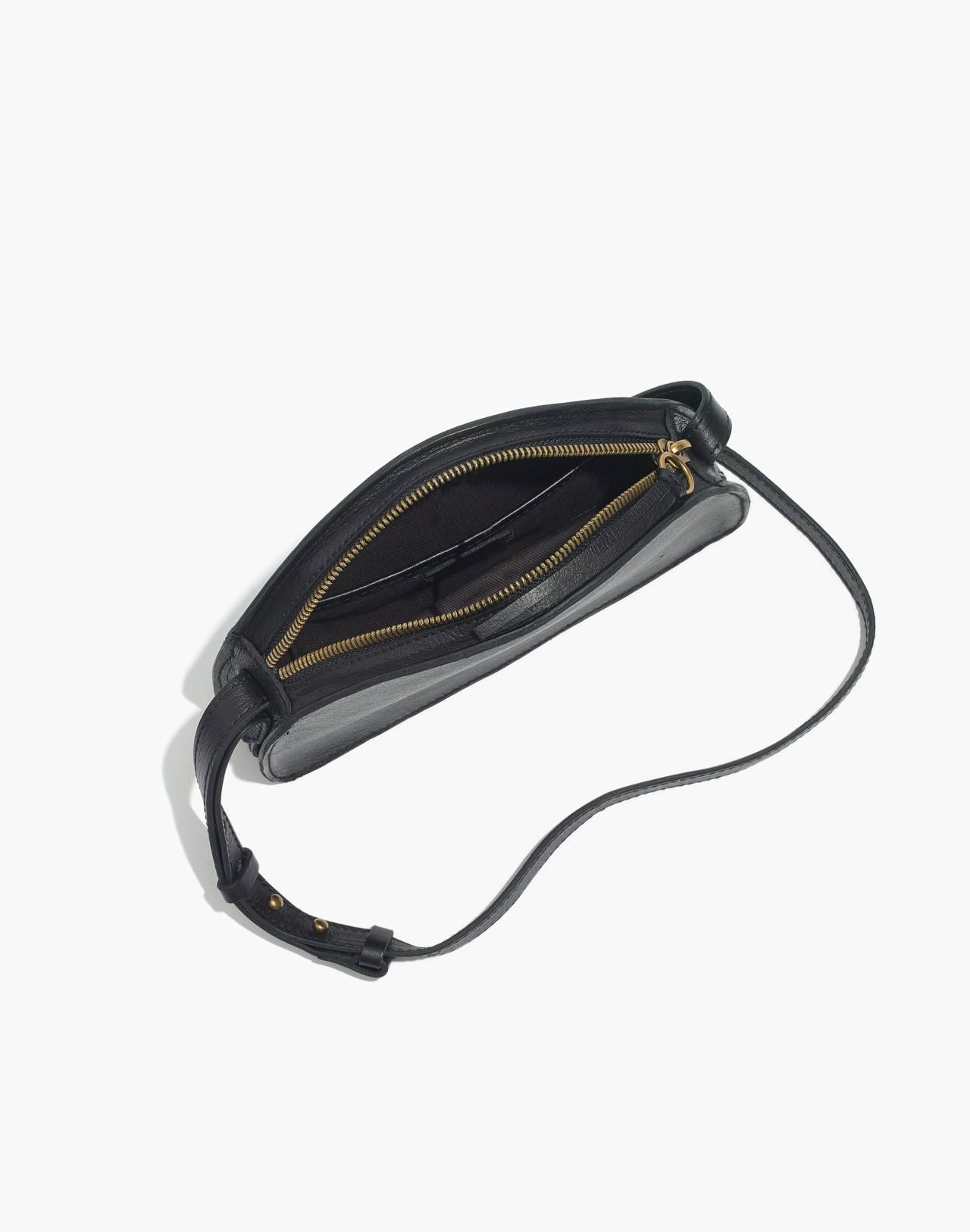The Simple Half-Moon Crossbody Bag in true black image 2