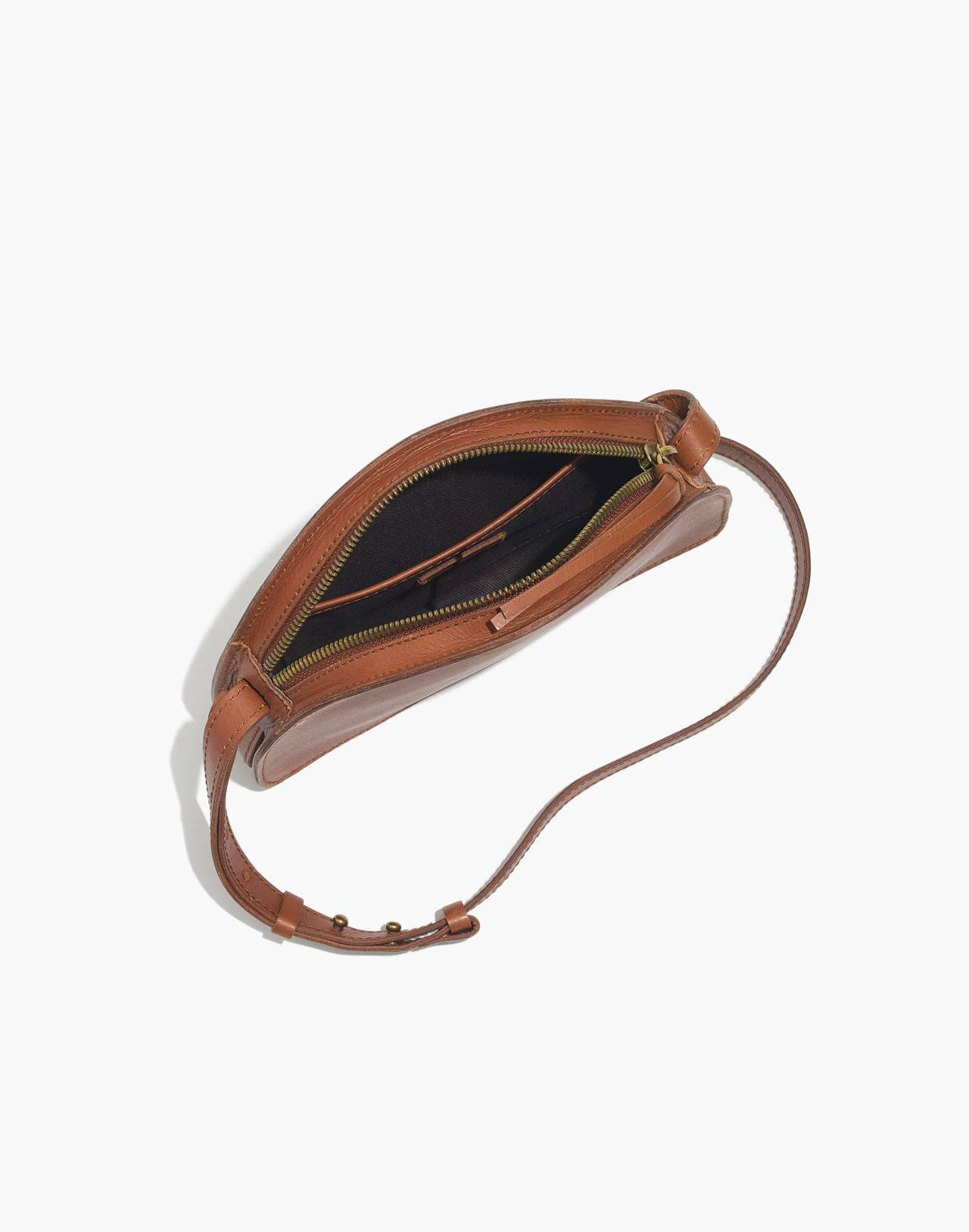 The Simple Half-Moon Crossbody Bag in english saddle image 2