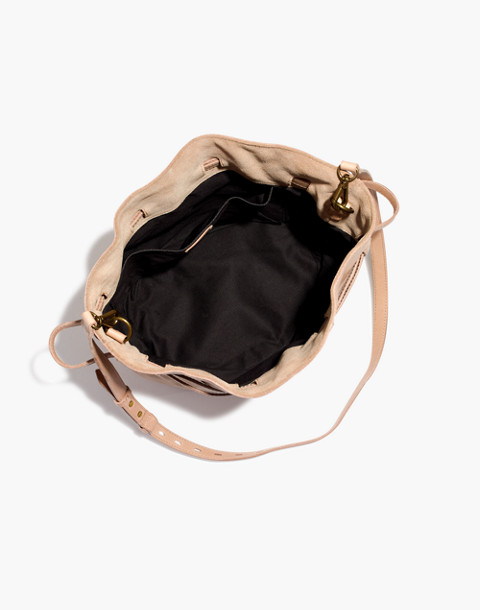 The Florence Drawstring Crossbody Bag in Leather in faded wicker image 2