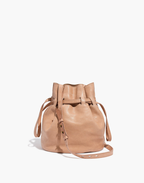 The Florence Drawstring Crossbody Bag in Leather in faded wicker image 1