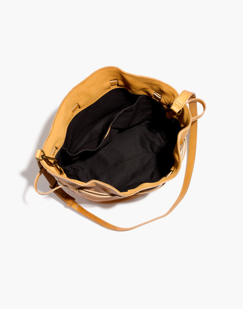 The Florence Drawstring Crossbody Bag in Leather in raw amber image 3