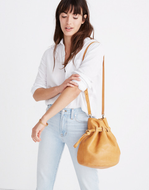 The Florence Drawstring Crossbody Bag in Leather in raw amber image 2