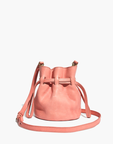 The Florence Drawstring Crossbody Bag in Leather in light blossom image 1