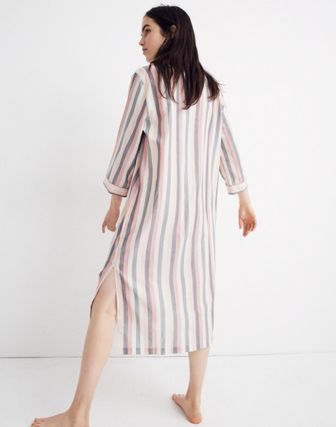 Flannel Bedtime Long Nightshirt in Lonnie Stripe in sweet dahlia jessie stripe image 2