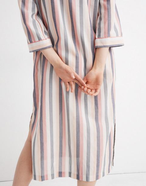 Flannel Bedtime Long Nightshirt in Lonnie Stripe in sweet dahlia jessie stripe image 3