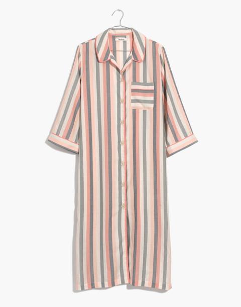 Flannel Bedtime Long Nightshirt in Lonnie Stripe in sweet dahlia jessie stripe image 4