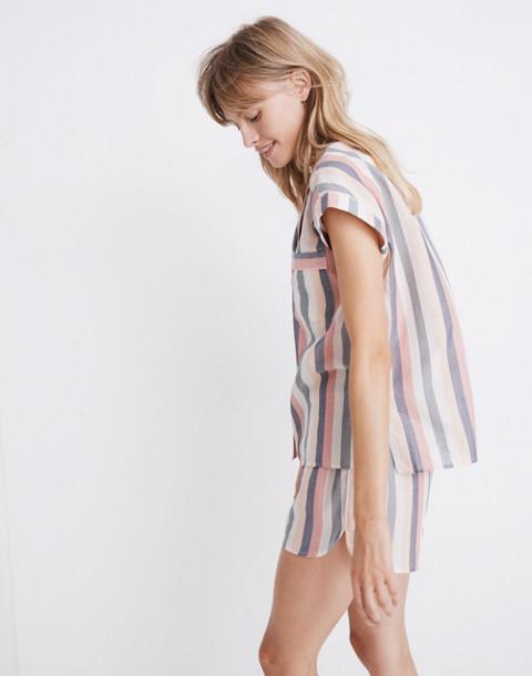 Flannel Bedtime Pajama Shorts in Lonnie Stripe in sweet dahlia jessie stripe image 2