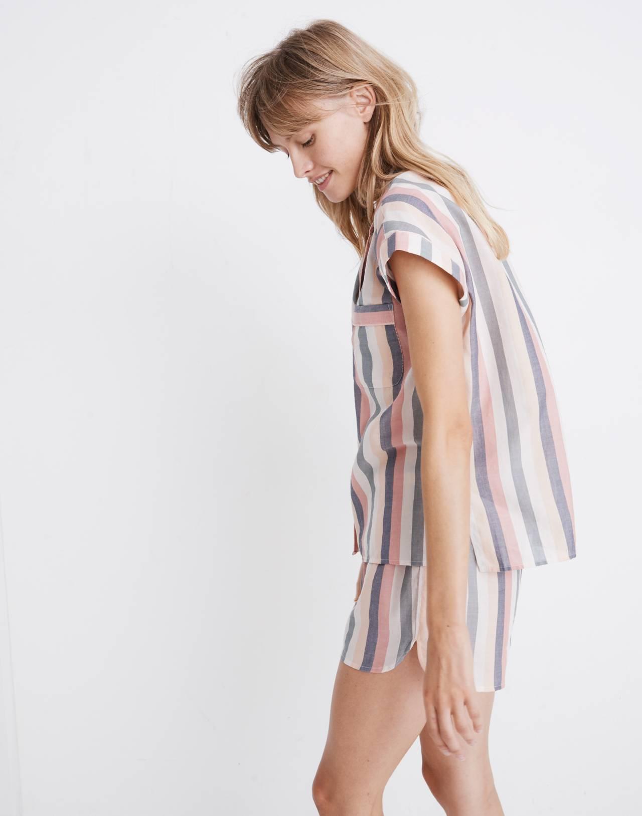 Flannel Bedtime Pajama Top in Lonnie Stripe in sweet dahlia jessie stripe image 2
