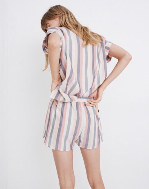 Flannel Bedtime Pajama Shorts in Lonnie Stripe in sweet dahlia jessie stripe image 3