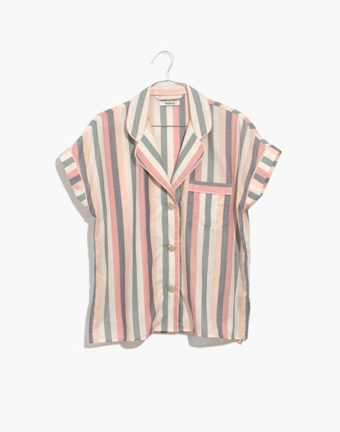Flannel Bedtime Pajama Shorts in Lonnie Stripe in sweet dahlia jessie stripe image 4