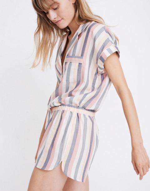 Flannel Bedtime Pajama Shorts in Lonnie Stripe in sweet dahlia jessie stripe image 1